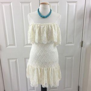 V.S Moda International strapless lace dress M